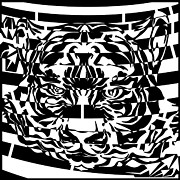Op Art Digital Art Posters - Tiger Face Maze Poster by Yonatan Frimer Maze Artist
