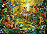 Pond Digital Art Framed Prints - Tiger Family in the jungle Framed Print by Jan Patrik Krasny