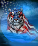 Patriotic Tiger Framed Prints - Tiger Flag Framed Print by Carol Cavalaris