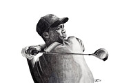 Nike Drawings - Tiger Follow Through by Devin Millington