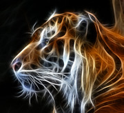 Cat Mixed Media Prints - Tiger Fractal Print by Shane Bechler