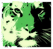 Tilly Art Posters - Tiger Green Poster by Tilly Williams