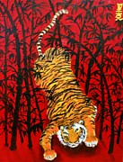 Oriental Tiger Prints - Tiger in a bamboo field Print by Rick Carbonell