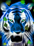 Tigress Digital Art - Tiger in Blue by Daniel Janda