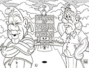 Tiger Woods Drawings - TIGER in the WOODS by Cactus Town