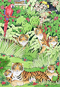 Green Field Framed Prints - Tiger Jungle Framed Print by Suzanne Bailey