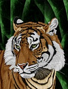 Wild Cat Poster Posters - Tiger Poster by Karen Sheltrown