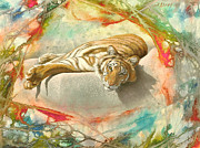Tiger Laying In Abstract Print by Paul Krapf
