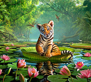Water Reflection Digital Art Posters - Tiger Lily Poster by Jerry LoFaro