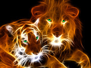 Cool Lion Prints - Tiger Lion  Print by Mark Ashkenazi