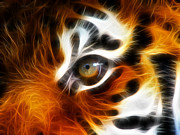 The Tiger Digital Art Metal Prints - Tiger  Metal Print by Mark Ashkenazi