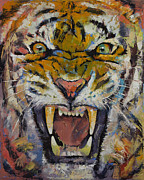 Rage Paintings - Tiger by Michael Creese