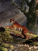 Tiger Digital Art Prints - Tiger on a Log Print by Daniel Eskridge
