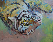 Abstract Wildlife Painting Posters - Tiger Play Poster by Michael Creese