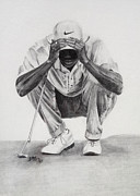 Nike Drawings - Tiger Putting by Devin Millington