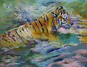 Gato Prints - Tiger Reflections Print by Michael Creese