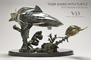 Shark Sculptures - Tiger Shark with Turtle by Victor Douieb