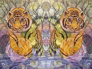 The Tiger Mixed Media Posters - Tiger Spirits in the Garden of the Buddha Poster by Joseph J Stevens