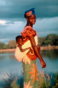 Burkina Faso Prints - Tiger Woman with Child in Burkino Faso Print by Wernher Krutein