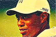 Tiger Woods 2 Crayons Print by MotionAge Art and Design - Ahmet Asar
