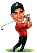 Caricatures Paintings - Tiger Woods by Art