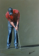 Tiger Paintings - Tiger Woods at Dubai Desert Classic  by Mark Robinson