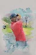 Watercolor Tiger Framed Prints - Tiger Woods Framed Print by Catf