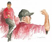 Water Color Paintings - Tiger Woods by Christiaan Bekker