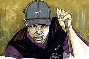 Tiger Woods Drawings - Tiger Woods by Dave Olsen