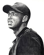 Nike Drawings Prints - Tiger Woods Driven Print by Devin Millington
