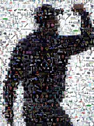 Fist Pump Posters - Tiger Woods Fist Pump Mosaic Poster by Paul Van Scott