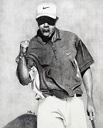 Nike Drawings Prints - Tiger Woods Pumped Print by Devin Millington