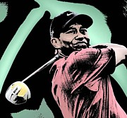 Golf Shirt Prints - Tiger Woods Print by Tanysha Bennett-Wilson