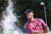 Professional Drawings Framed Prints - Tiger Woods  Framed Print by Viola El