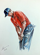 Famous Golfers Framed Prints - Tiger Woods Watercolor by Mark Robinson Framed Print by Mark Robinson