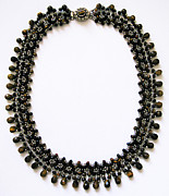 Sterling Silver Art - Tigers Eye Beaded Necklace by Jennie Breeze