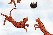 Cute Painting Posters - Tigers on a Trampoline Poster by Christy Beckwith