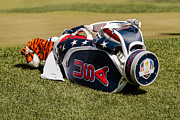 Tiger Woods Photos - Tigers Woods Golf Bag by Mike Burgquist