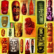 Tiki Art Posters - Tiki And Masks Poster by Yulonda Rios