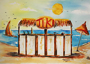 Tiki Bar Painting Prints - Tiki Bar At Seaside  Print by Bernadette Krupa
