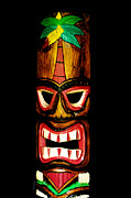 Painted Face Prints - Tiki Bob Print by Cheryl Young