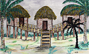 Pen And Ink Drawing Painting Metal Prints - Tiki Island Metal Print by Megan Dirsa-DuBois