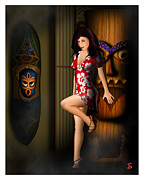 Flowered Dress Framed Prints - Tiki Noir Framed Print by Jason Snyder