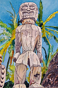 City Of Refuge Prints - Tiki Print by Terry Holliday