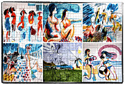 Graffiti Prints Prints - Tile Art Collage Print by John Rizzuto