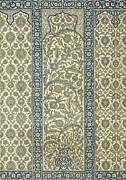 Flower Motifs Prints - Tiled Panel from Mosque of Ibrahym Agha from Arab Art as Seen Through the Monuments of Cairo Print by Emile Prisse d Avennes