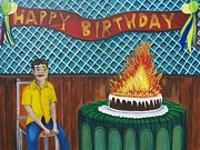 Asbury Park Funhouse Painting Originals - Tillies Last Birthday Party by Patricia Arroyo