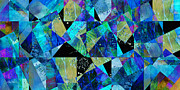 Total Abstract Mixed Media - Tilt in Blue - abstract - art by Ann Powell