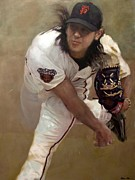 Baseball Painting Framed Prints - Tim Lincecum Changeup Framed Print by Darren Kerr