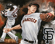 Fast Ball Framed Prints - Tim Lincecum Framed Print by Joshua Jacobs